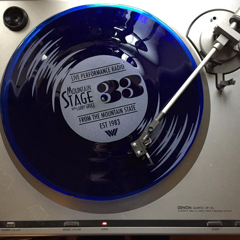 Blenko Glass crafted this hand blown record to commemorate Mountain Stage's 33rd Anniversary