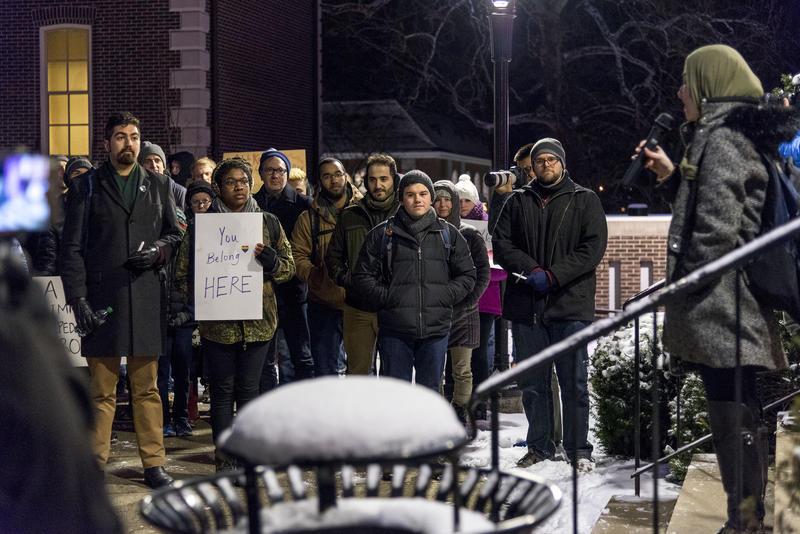 Muslim Student Association President Sara Berzingi opens the vigil.