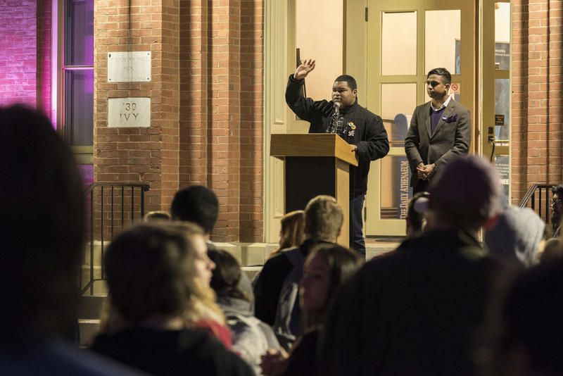 Senior political science student Jihad D. Dixon speaking at a 2016 event in Morgantown after the election. Dixon was elected this year to the Student Government Association. He serves as a Student Diversity Ambassador for the WVU Division of Diversity, Eq