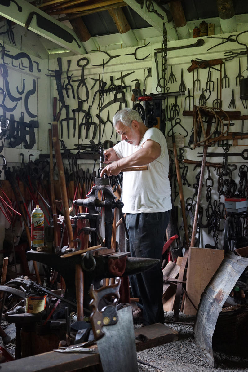 Jim Costa working in his blacksmith's shop