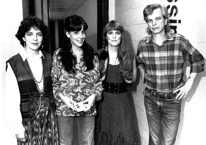 The Roches backstage at their first Mountain Stage appearance December 2, 1990. From left: Maggie, Suzzy, Terre, Mountain Stage Executive Producer, Andy Ridenour