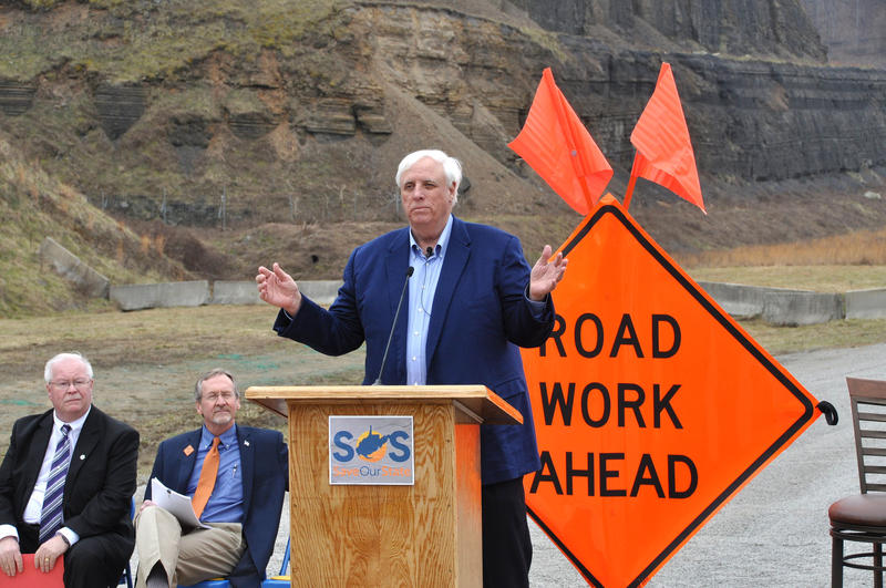 West Virginia Gov. Jim Justice speaks during a stop on his Save our State tour Sunday, Feb. 19, 2017 on the Coalfields Expressway. Credit