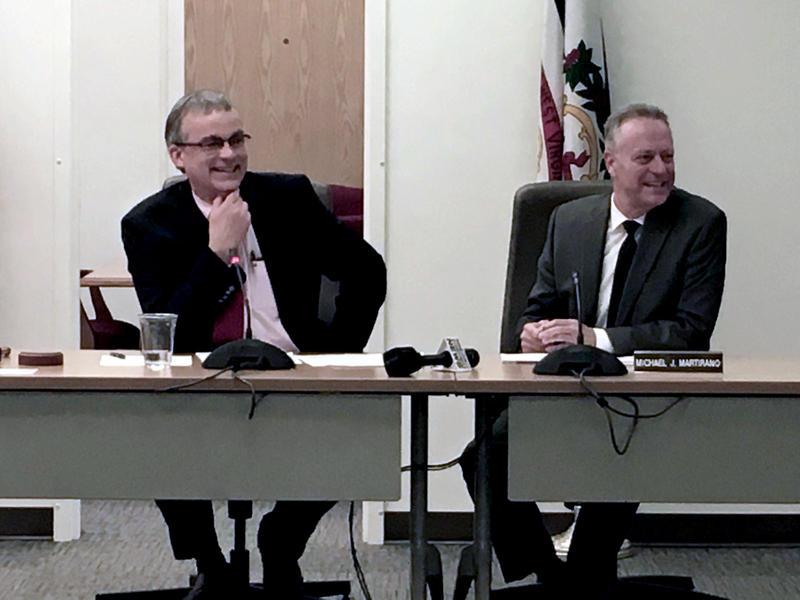 Newly elected West Virginia Board of Education President Tom Campbell, left, with state Superintendent Dr. Michael Martirano, right, during Thursday's meeting.