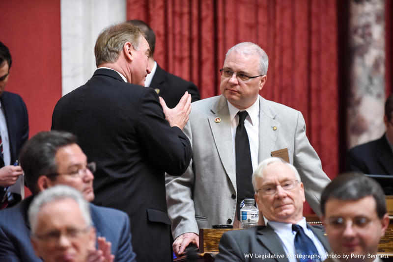 House Government Organization Chair Del. Gary Howell, R-Mineral (right) speaks with House Finance Chair Del. Eric Nelson, R-Kanawha.