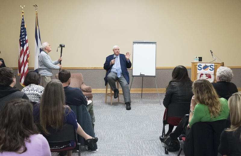 West Virginia Gov. Jim Justice talks about his budget proposal during a stop on his Save Our State Tour on Thursday, March 3, 2017, at Fairmont State University.