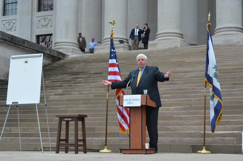 Governor Jim Justice spoke on the steps of the state Capitol on Tuesday, March 21, 2017, to address supporters of West Virginia's oil and natural gas industry and gave West Virginians an update on the budget.