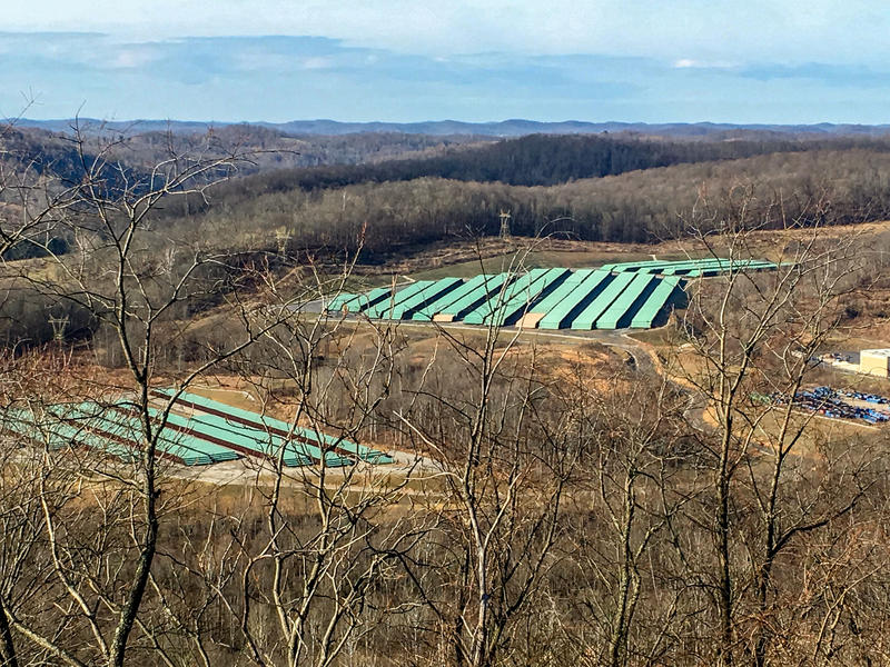 Pipe stacked in the Morgantown Industrial Park for use on the Atlantic Coast Pipeline.