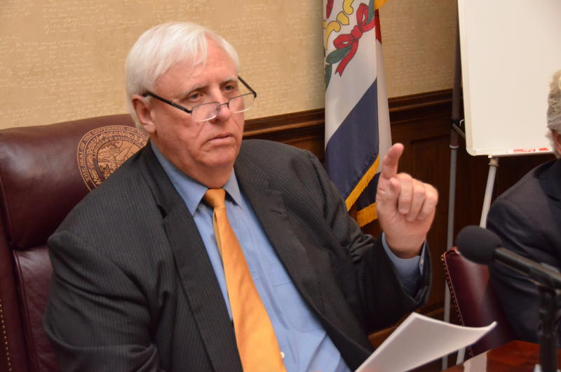 Gov. Jim Justice during a budget press conference at the Capitol Tuesday.