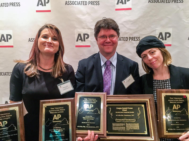 Inside Appalachia host Jessica Lilly (from left), news director Jesse Wright, and energy and environment reporter Glynis Board Saturday. April 1, at the AP of the Virginias Broadcast awards luncheon in Roanoke, Va.