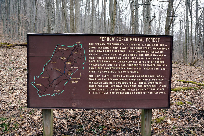 A sign greets visitors to the Fernow Experimental Forest in Tucker County, W.Va.