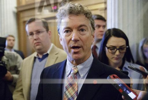 Sen. Rand Paul, R-Ky., speaks to reporters on Capitol Hill in Washington.