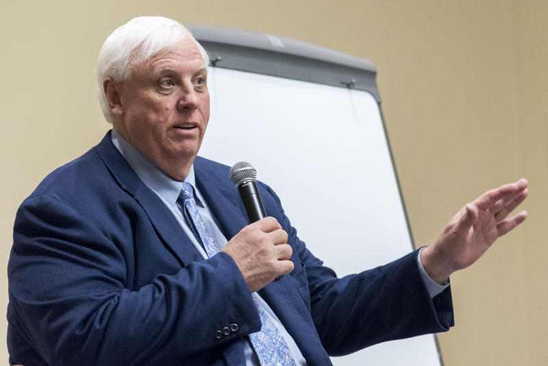 West Virginia Gov. Jim Justice speaks during a stop on his 2017 Save our State tour at Fairmont State University.