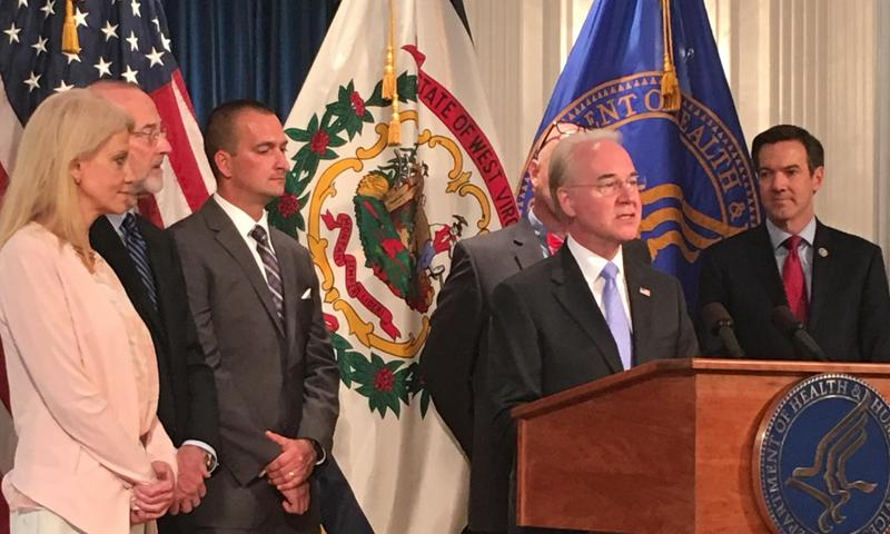 HHS Sec. Tom Price speaking at a press conference at the state Capitol.