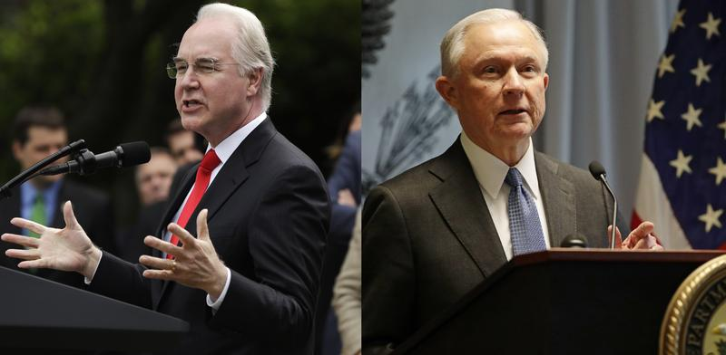 HHS Sec. Tom Price, left, and Attorney General Jeff Sessions, right.