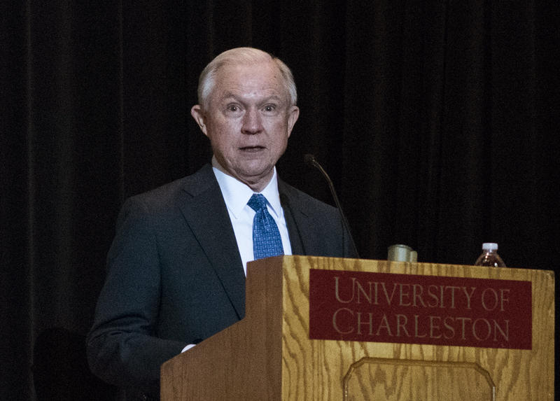 Attorney General Jeff Sessions at the University of Charleston Thursday.