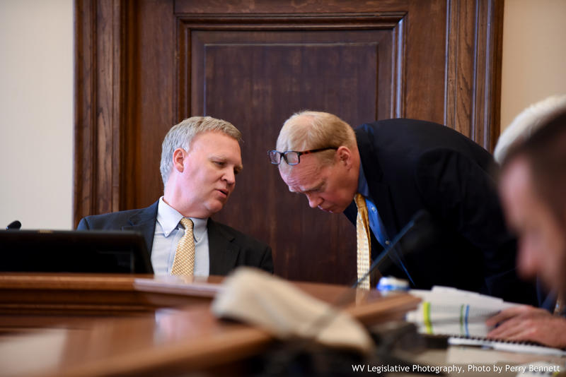 House Speaker Tim Armstead, left, speaks with Legislative Auditor Aaron Allred, right, during a June 2017 interim committee meeting.