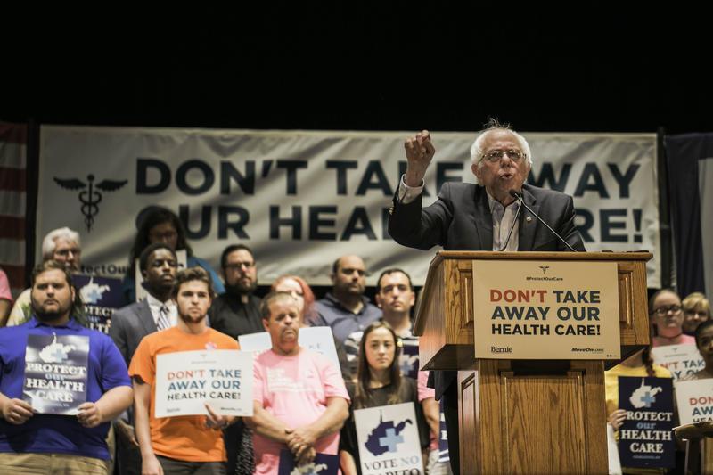 Bernie Sanders speaks at a health care rally in Charleston