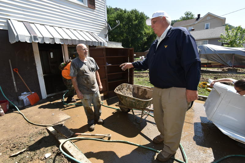 Gov Jim Justice visited McMechen and Mannington WV on Sunday to survey the damage and cleanup efforts in those affected areas.