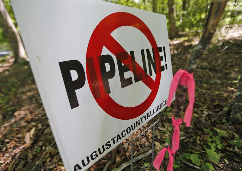 A No Pipeline sign is posted next to a property line marker only a few feet from the center line of the route of the proposed Atlantic Coast Pipeline in Bolar, Va.