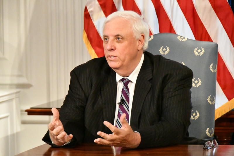 Gov. Jim Justice during a press briefing at the state Capitol.