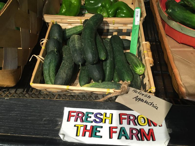 Cucumbers for sale at the Wild Ramp market in Huntington