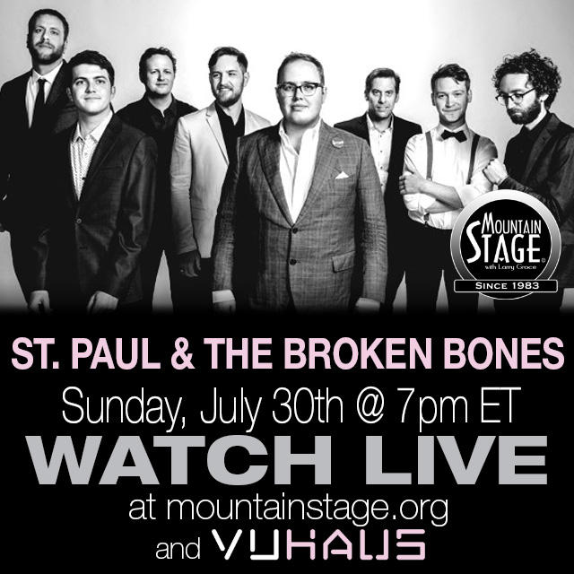 New age soul and R&B group St. Paul and The Broken Bones make their 2nd appearance on Mountain Stage this Sunday. You can watch live starting at 7pm EST at MountainStage.org.
