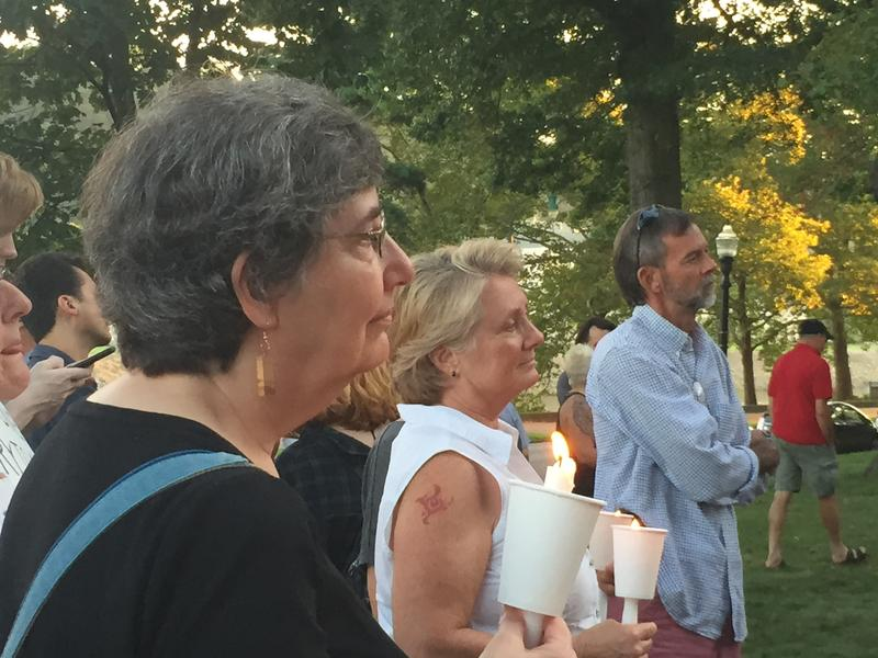 Terry Pickett and other attendees at an anti-fascist rally in Charleston, W.Va.