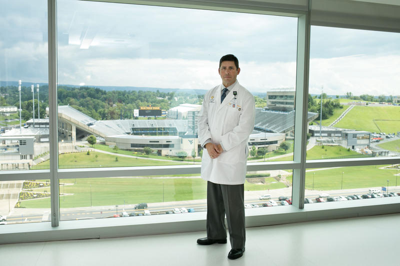Doug Mitchell, vice president and chief nursing officer at WVU Medicine, stands in the new tower at Ruby Memorial Hospital