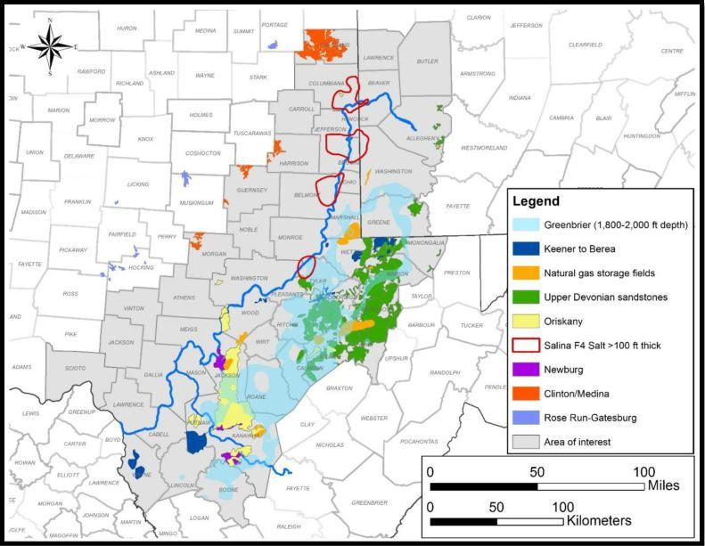 Storage opportunities identified through regional mapping, preliminary flied-testing assessments and rating.