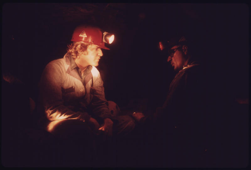 Two miners at the Virginia-Pocahontas Coal Company Mine #3 near Richlands, Virginia, 1974.