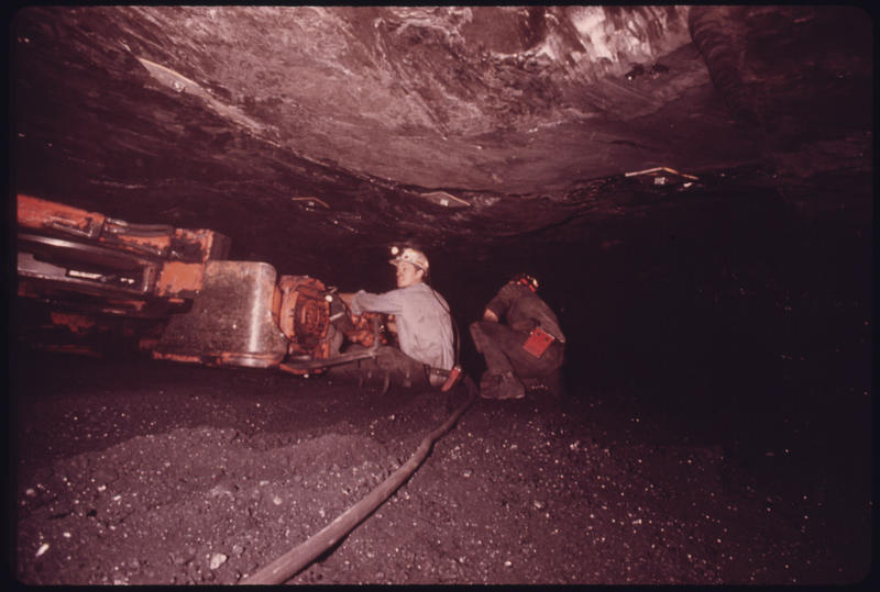 Alvin Elledge (left) on the coal loader in a Tennessee consolidated coal company mine near Jasper and Chattanooga Tennessee, 1974.