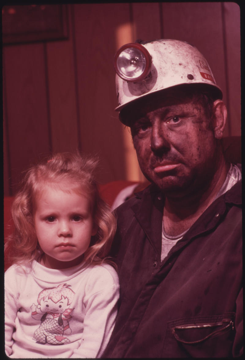 Miner Wayne Gipson, 39, with his Daughter Tabitha, 3, in 1974.