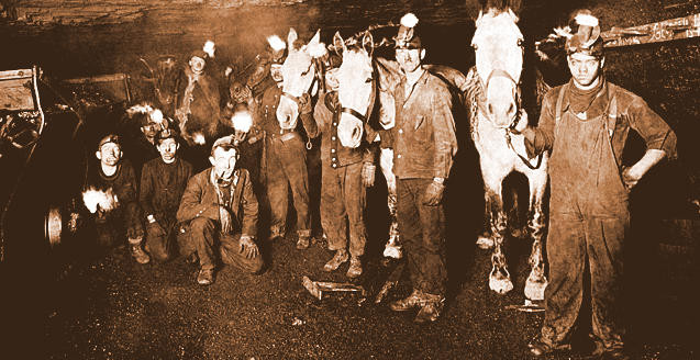 Workers and mules at C.E. Price's coal mine near Wanda and Ethel, Logan County, 1910.