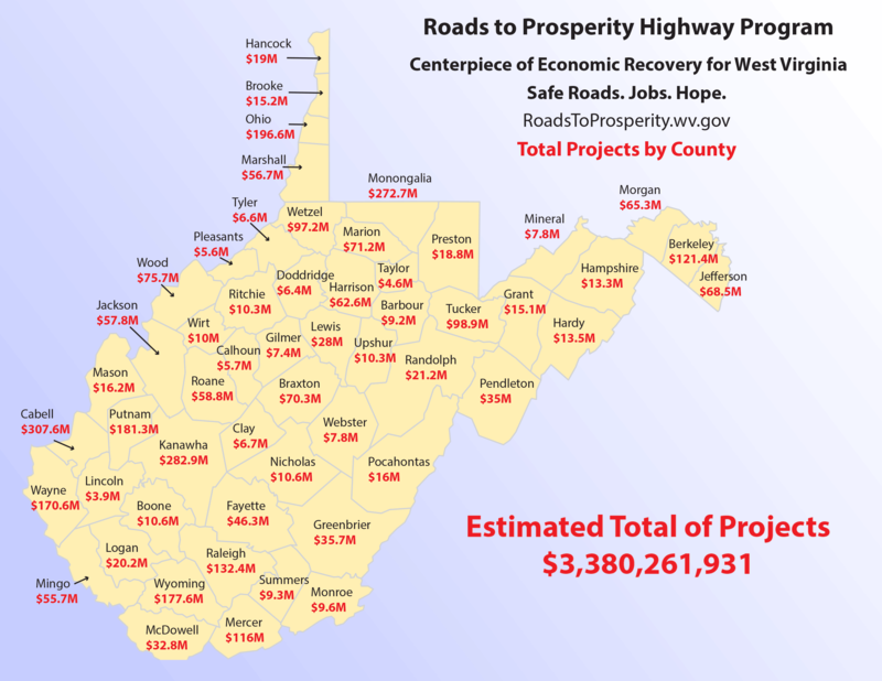 Roads to Prosperity Highway Program Map, Total Projects by Count