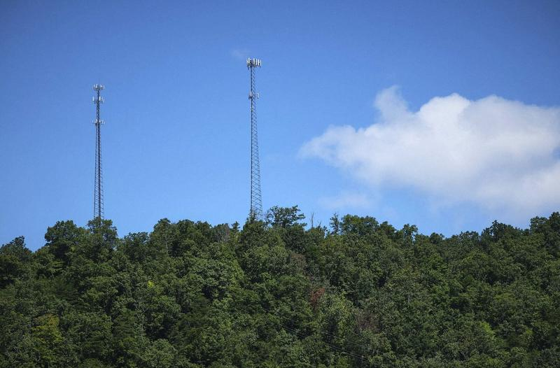 A wireless internet transmitter on the right cell tower beams data to subscribers in Whitesburg, Kentucky