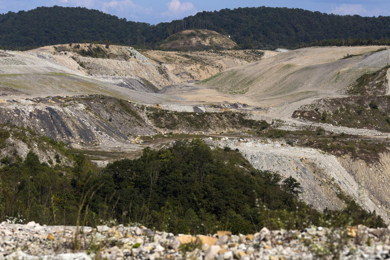 The remains of a strip mine are seen from a mountain top in Pike County, Ky., on Wednesday, September 27, 2017.