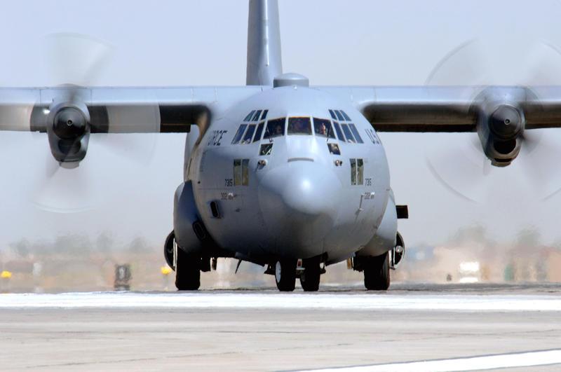 A C-130 Hercules aircraft.