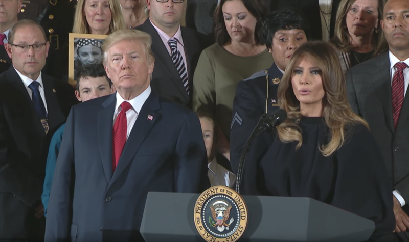 President Donald Trump beside First Lady Melania Trump during a press conference in Washington , D.C.