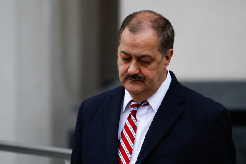 Former Massey Energy CEO Don Blankenship departs the Robert C. Byrd United States Courthouse following the second day of jury deliberation in Charleston, W.Va., Wednesday, Nov. 18, 2015.