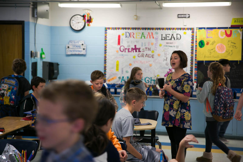 Sarah Blake manages school dismissal in her fifth grade classroom