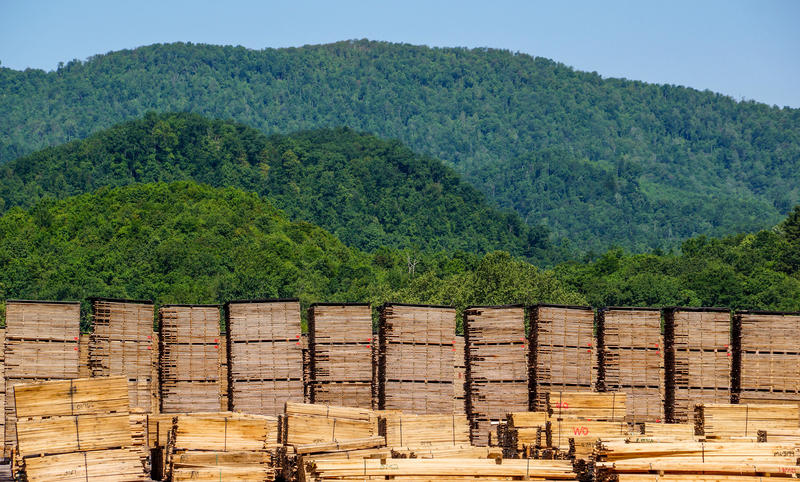 Lumber dries outside the Armstrong Flooring plant in Beverly, W.Va.
