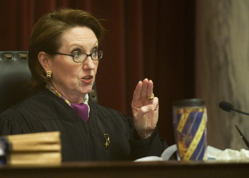 Justice Robin Jean Davis questions a point  in a rehearing of a $76 million judgment awarded to Harman Mining Co. against Massey Energy Co. before the West Virginia Supreme Court of Appeals at the West Virginia State Capitol Complex in Charleston, W.Va.