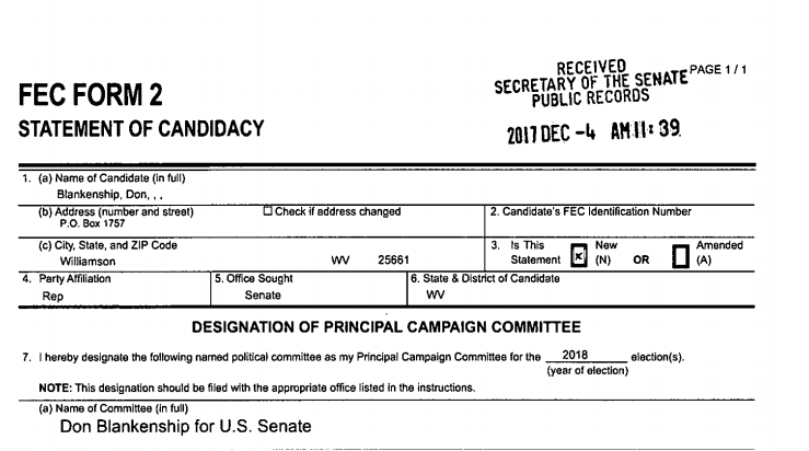 A screenshot of Don Blankenship's statement of candidacy for U.S. Senate.