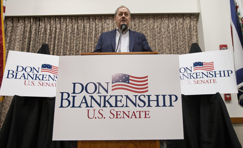 Former Massey CEO and West Virginia Republican Senatorial candidate, Don Blankenship, speaks during a town hall to kick off his campaign in Logan, W.Va., Thursday, Jan. 18, 2018.