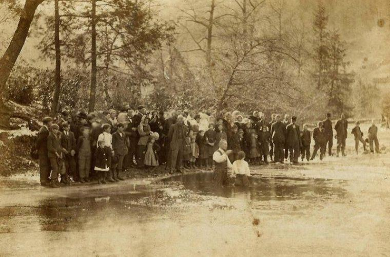 Mike Costello's great-great-grandfather, George Craft, a Baptist minister conducts a baptism ceremony near Frametown, W.Va.