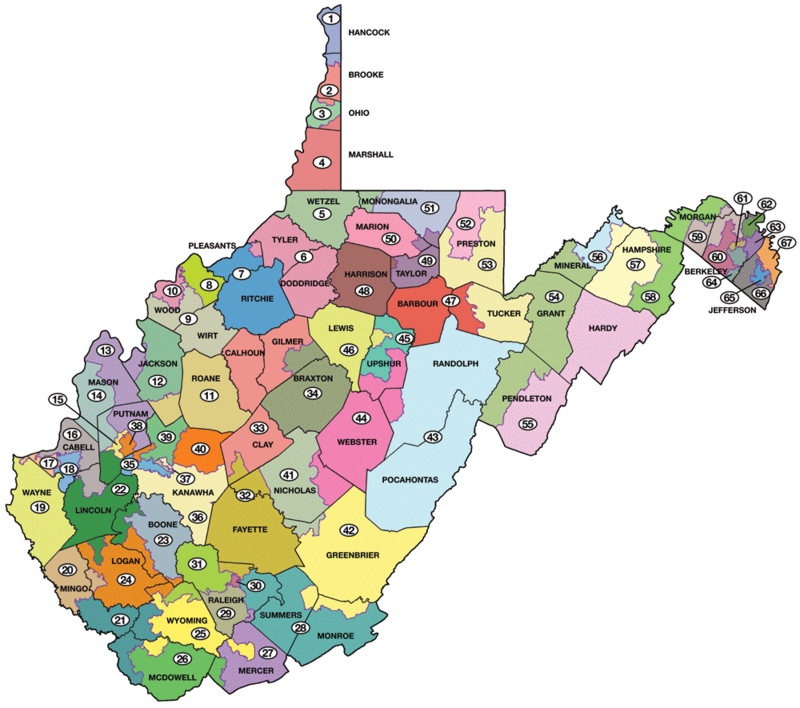 A map of the current West Virginia House of Delegates districts.