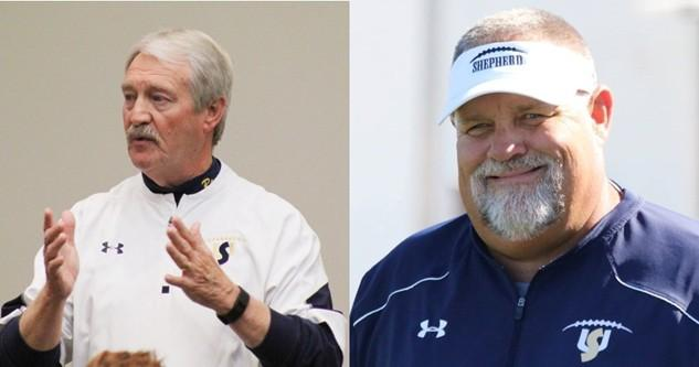Monte Cater (left) is retiring as head football coach in spring 2018. Ernie McCook (right) has been named to replace him.