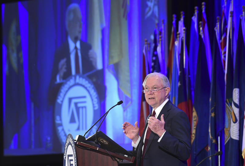 Attorney General Jeff Sessions delivers remarks to the National Association of Attorneys General at their Winter Meeting in Washington, Tuesday, Feb. 27, 2018.