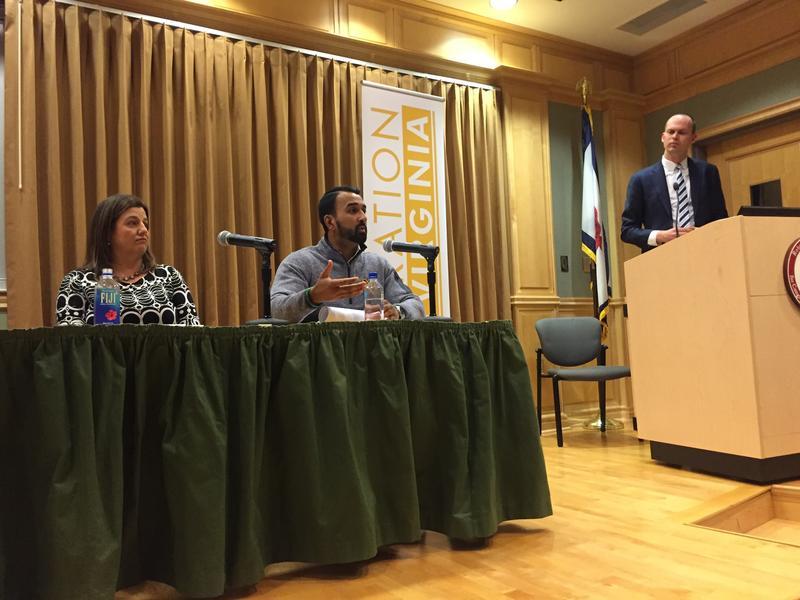 Aneesh Sompalli (center) speaking at a Gereration West Virginia event in Shepherdstown.