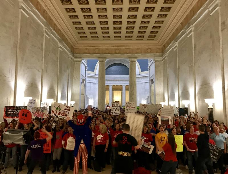 Teachers and supporters fill the Capitol Building March 5, 2018, in Charleston, W.Va.